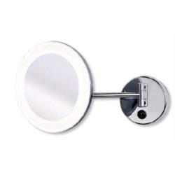 Miroir chromé sur bras avec lumière LED